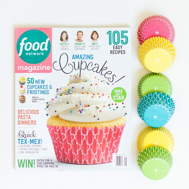 BakeBright Quatrefoil Cover Photo! BakeBright cupcake liners magazine feature!