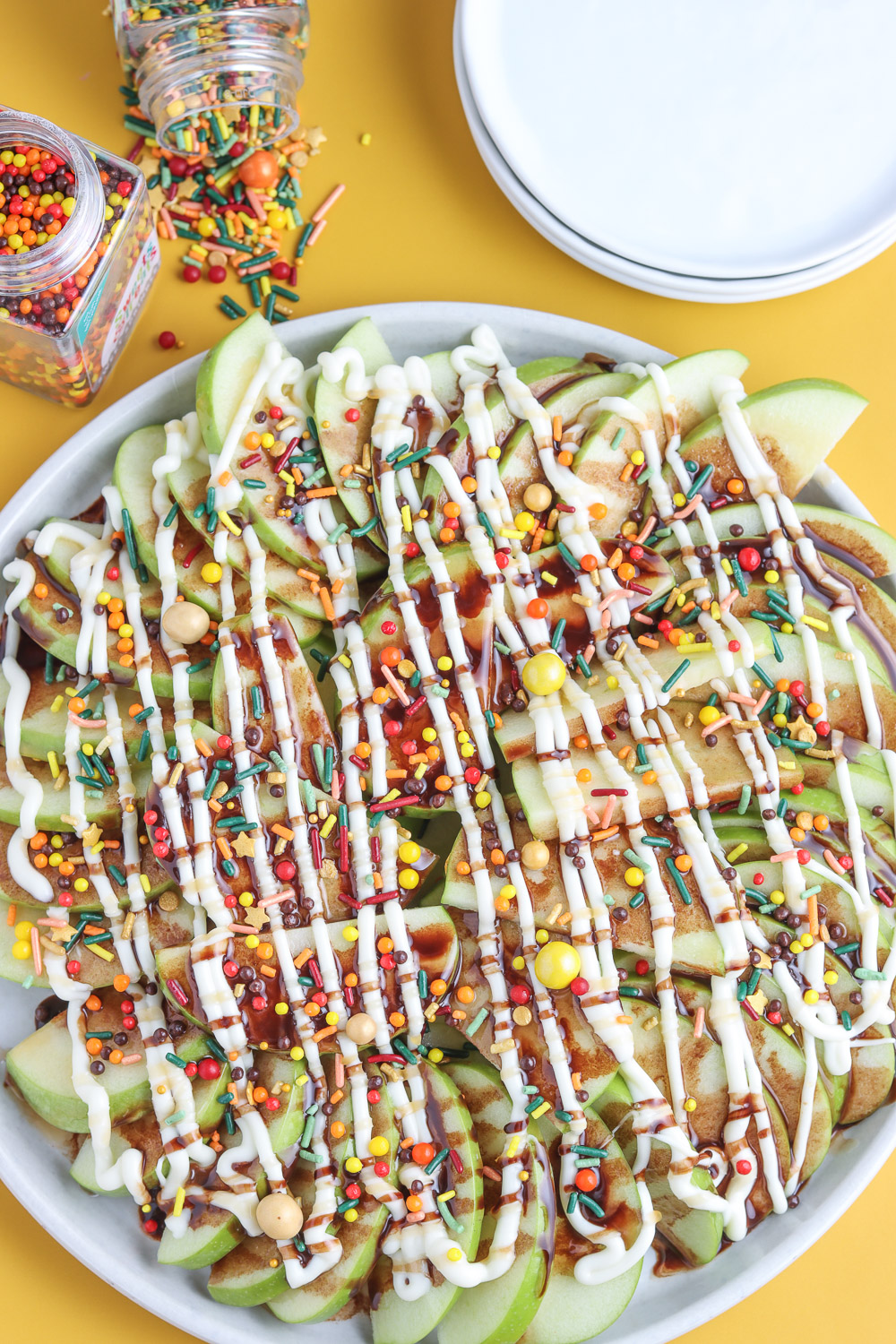 top view of plate full of apple nachos