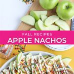 graphic showing before and after recipe for apple nachos