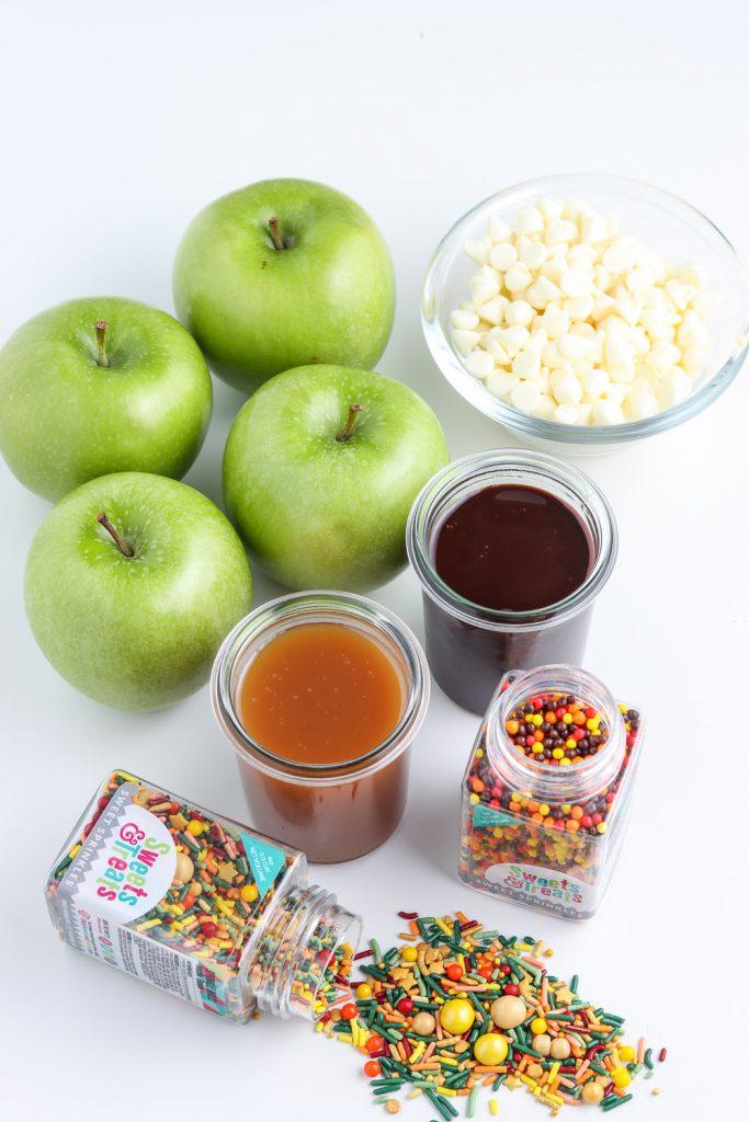 ingredients shot for apple nachos recipe