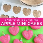 graphic for back to school apple shaped mini cakes
