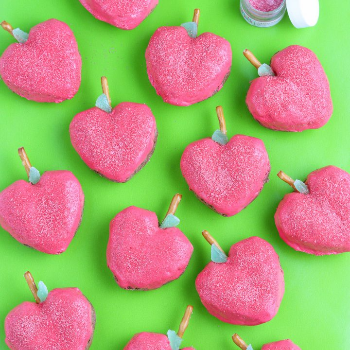 top view of apple shaped mini cakes with edible glitter