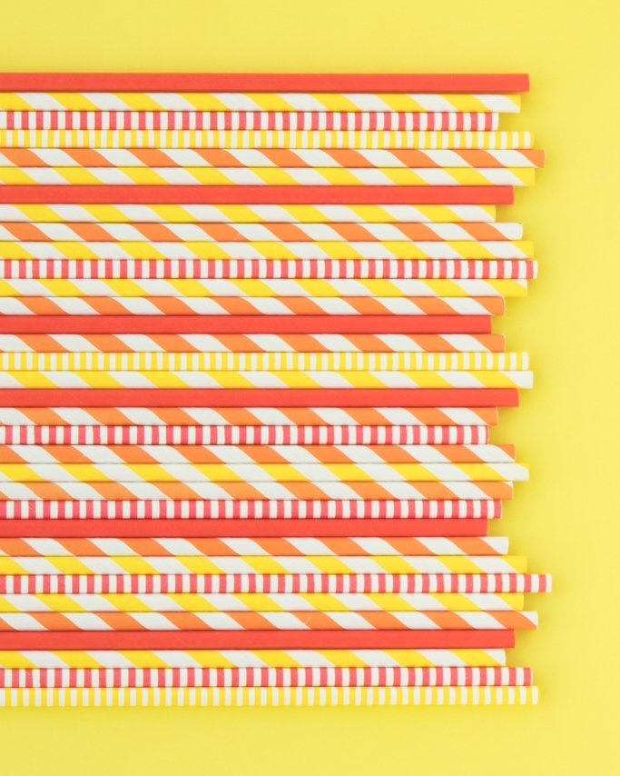 Thanksgiving Fall Paper Straws assorted on yellow background