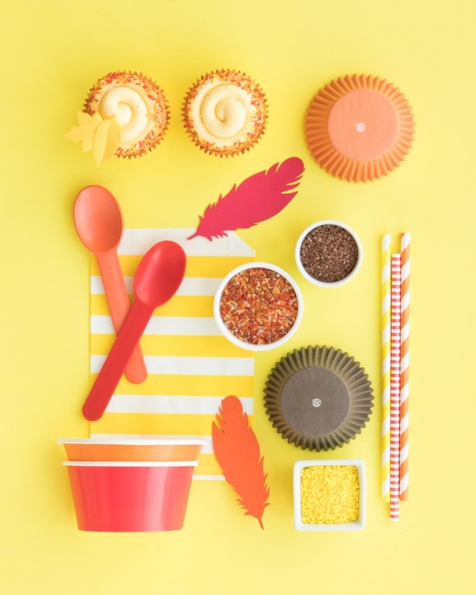 Fall Sprinkles & Party Supplies collage on yellow background