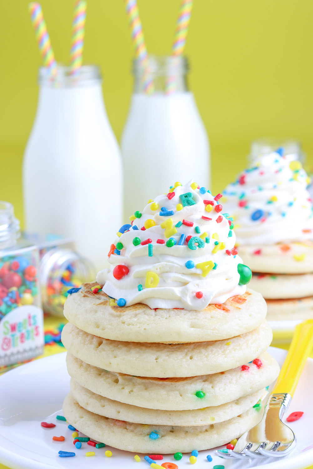 closeup of back to school homemade pancakes with sprinkles
