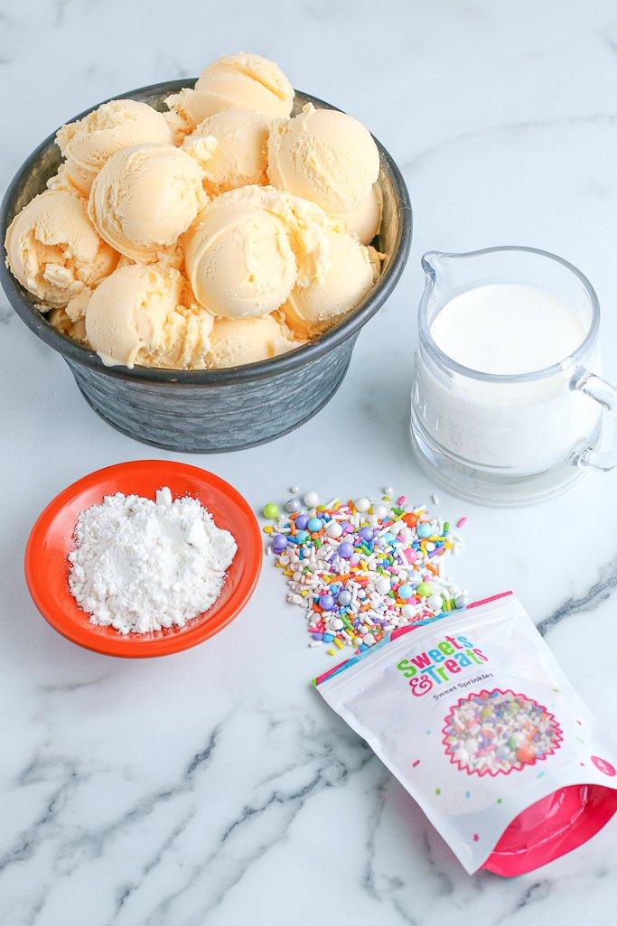 This is the ingredients shot showing what we'll need to make freak milkshakes!