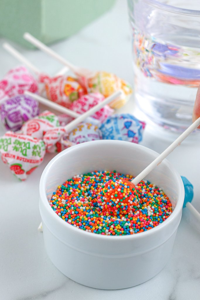 This is just a lollipop dipped in water and then coated in sprinkles, it adds such a festive touch to our freak milkshakes.