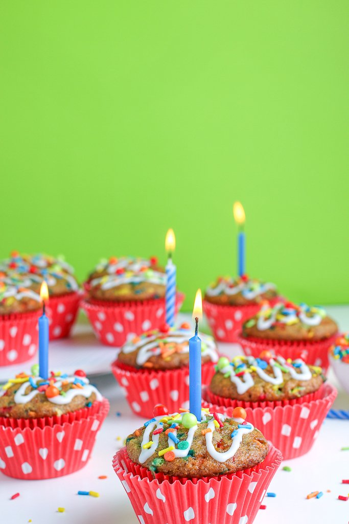 Here we see a candle burning in one of our delicious birthday muffins, they're all done and ready to be enjoyed.