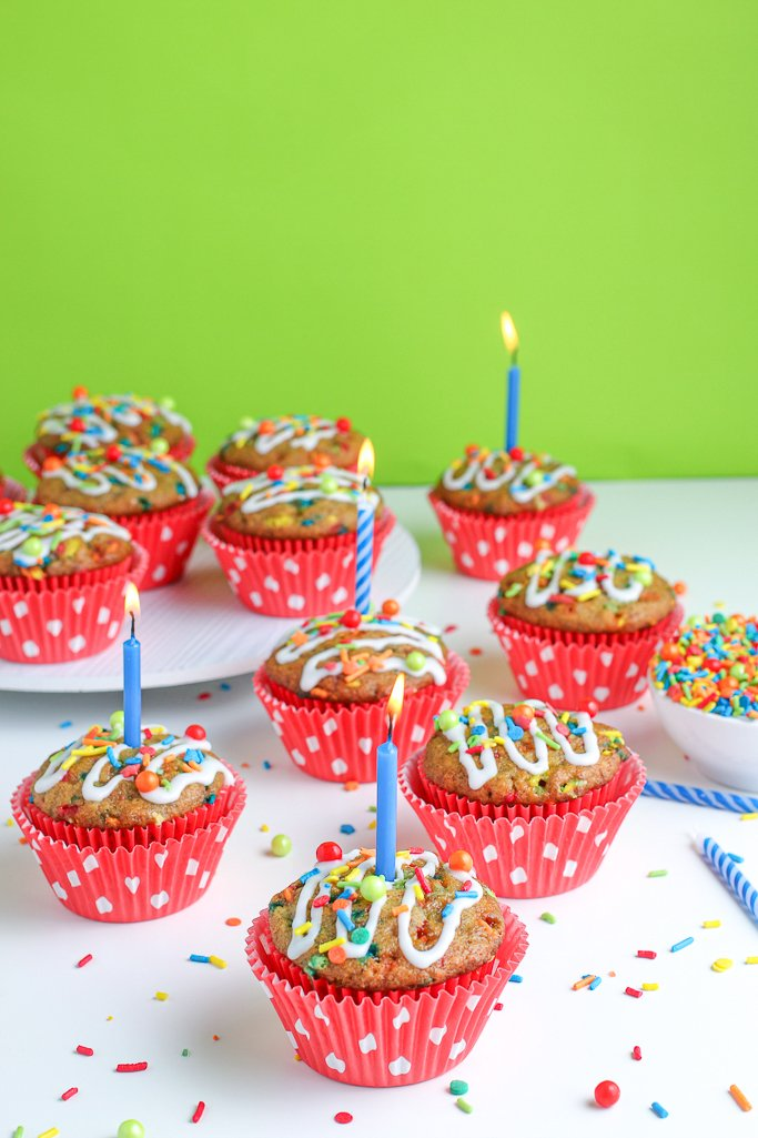 These cute and tasty birthday muffins are ready to be devoured.