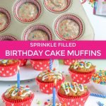 birthday cake muffins with sprinkles in coral muffin liners graphic