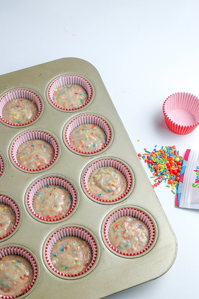 This shot shows us the birthday muffins in their muffin liners ready for the oven.