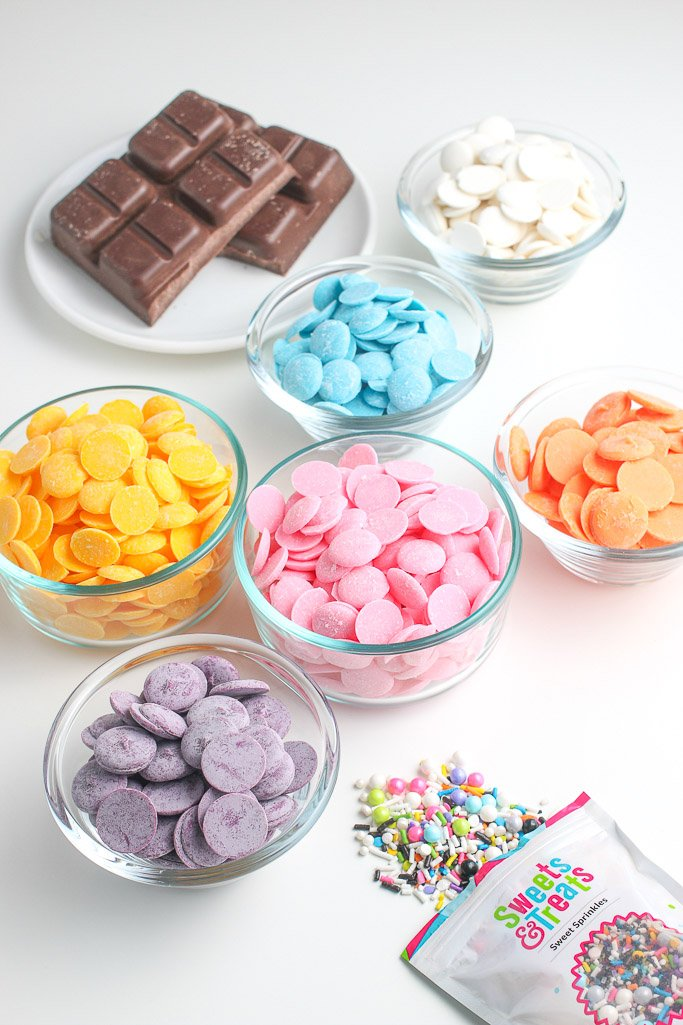 These are all the ingredients needed for how to make birthday chocolate bark.