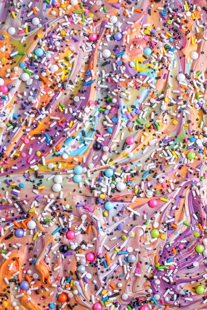 A close up view of the sprinkle chocolate bark finished and ready to be eaten.