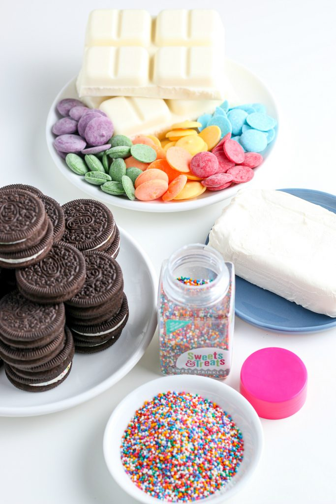 Here we see all the ingredients for this recipe for oreo balls laid out before we begin.