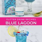 graphic showing blue lagoon drink ingredients and finished cocktail