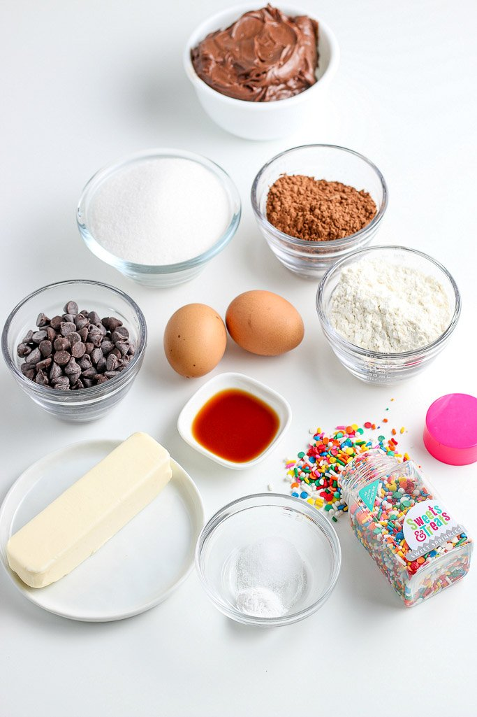 This image shows all of the ingredients for our brownies bites recipe laid out before we begin baking.