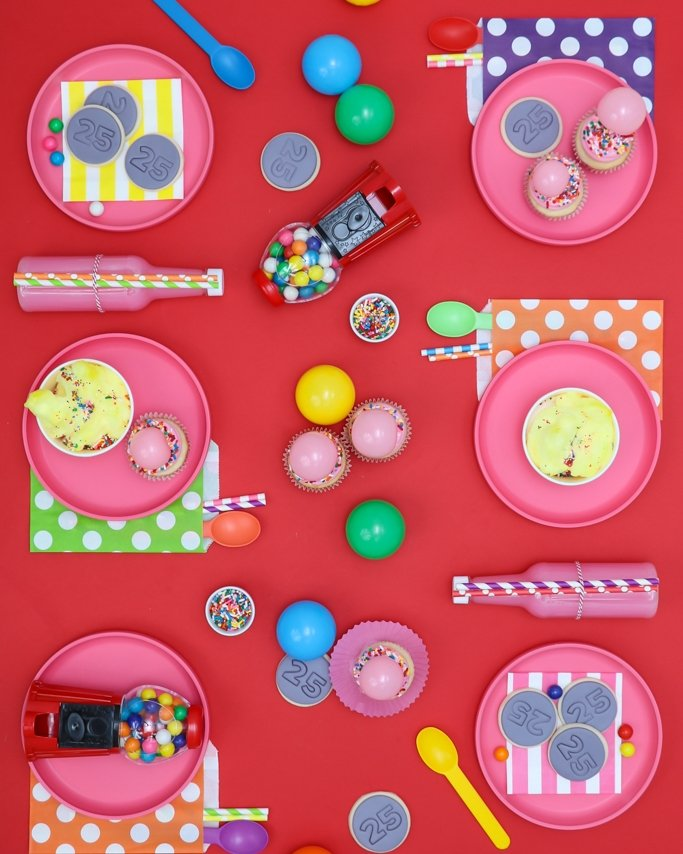 Bubble gum party ideas - 6 place setting - Valentine's Day Party Ideas on red background with gum