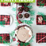 buffalo plaid party ideas with log cake and peppermint fudge