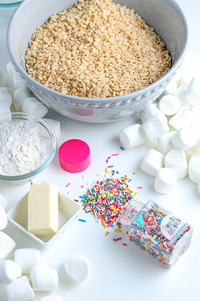 Here we have the ingredients for cake batter rice krispie treats laid out before we begin.
