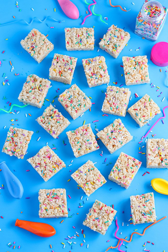 A top down view of the birthday cake rice krispie treats recipe finished and ready to be enjoyed.