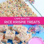 Here we see the birthday cake rice krispie treats recipe finished and served with some fun sprinkle rimmed drinks!