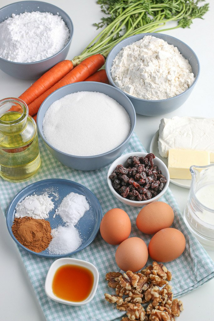 Here we see all of the ingredients laid out for the carrot cake cupcakes recipe before we begin baking.