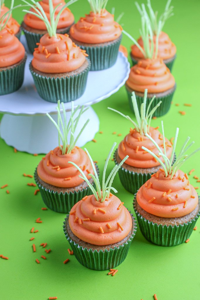 Another view of our adorable carrot cake cupcakes finished and ready to be devoured or shared!