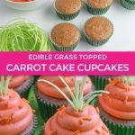 graphic showing tutorial and finished carrot cake cupcakes with orange sprinkles and edible grass
