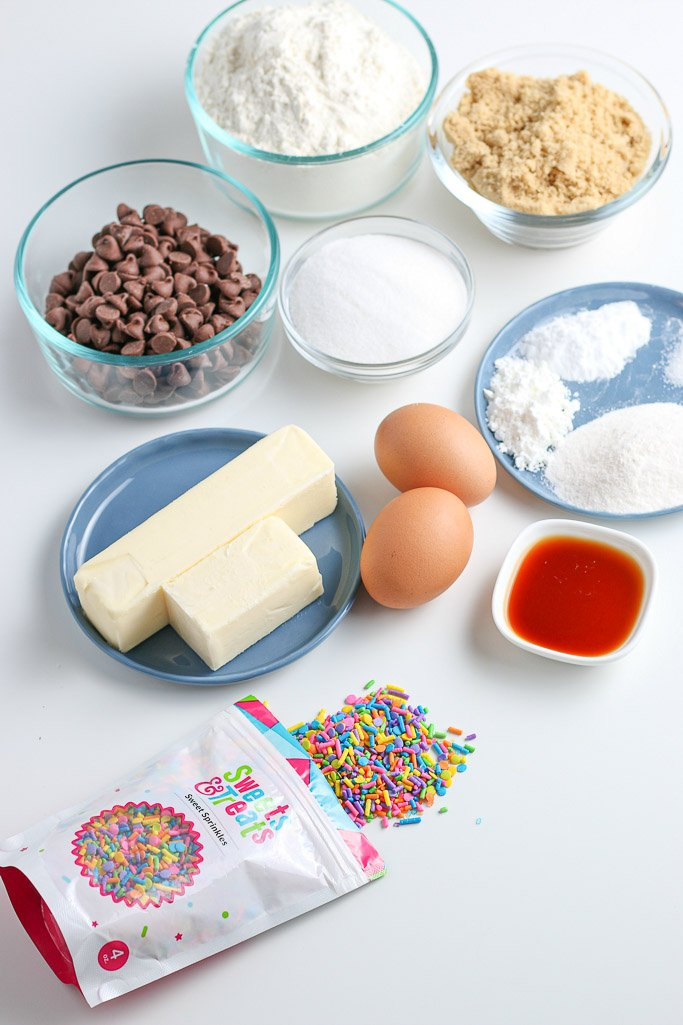 Here are all the ingredients needed to make this recipe for soft chocolate chip cookies laid out before we begin.