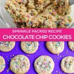 graphic for soft chocolate chip cookie recipe packed with sprinkles