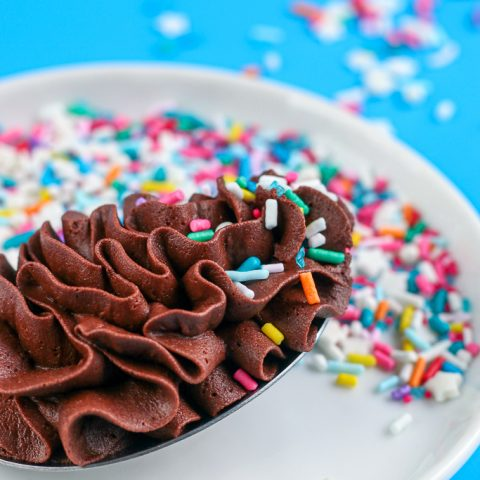 spoon full of chocolate buttercream with birthday cake sprinkles
