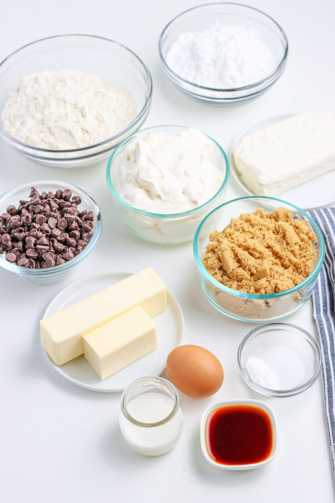 ingredients for chocolate chip cookie cake recipe, pizza style