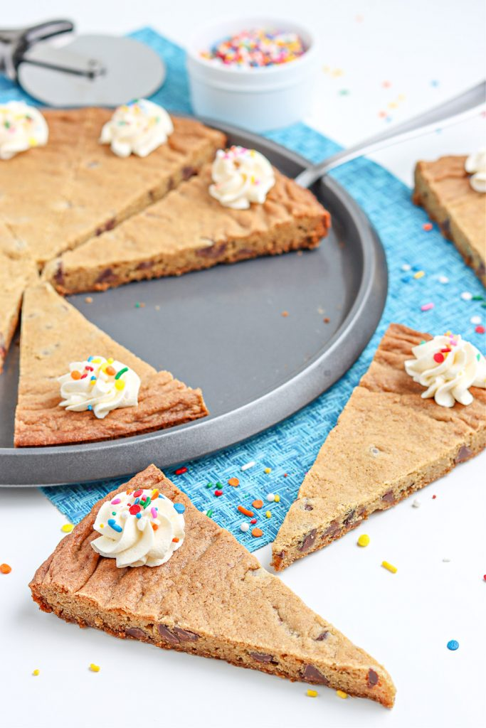 top view of cookie pizza cut into slices