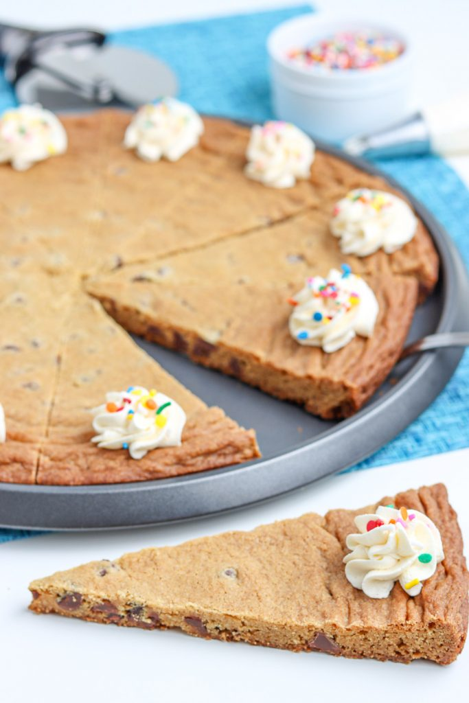 cookie cake cut into pizza slices