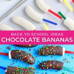 graphic showing before and after of chocolate dipped bananas