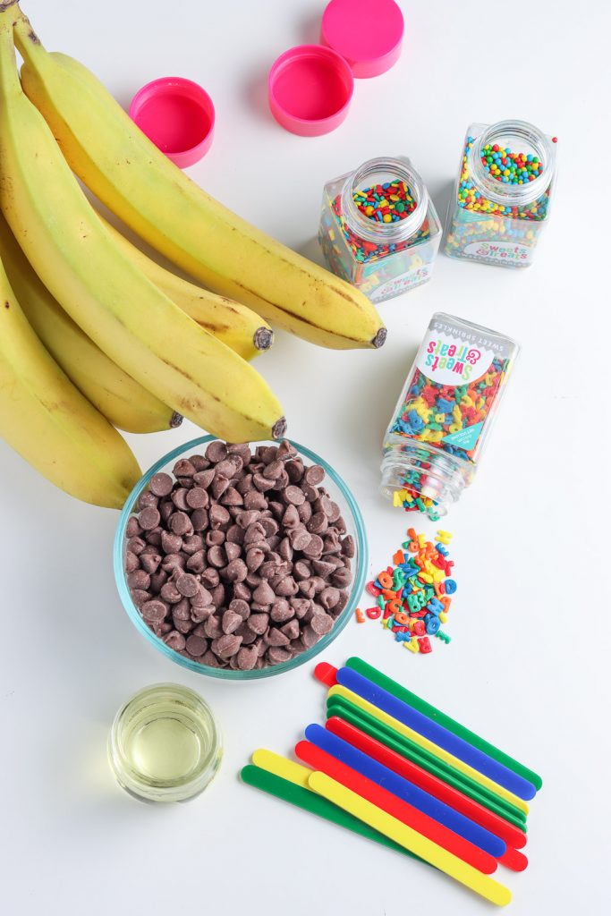 top view of chocolate bananas ingredients for back to school