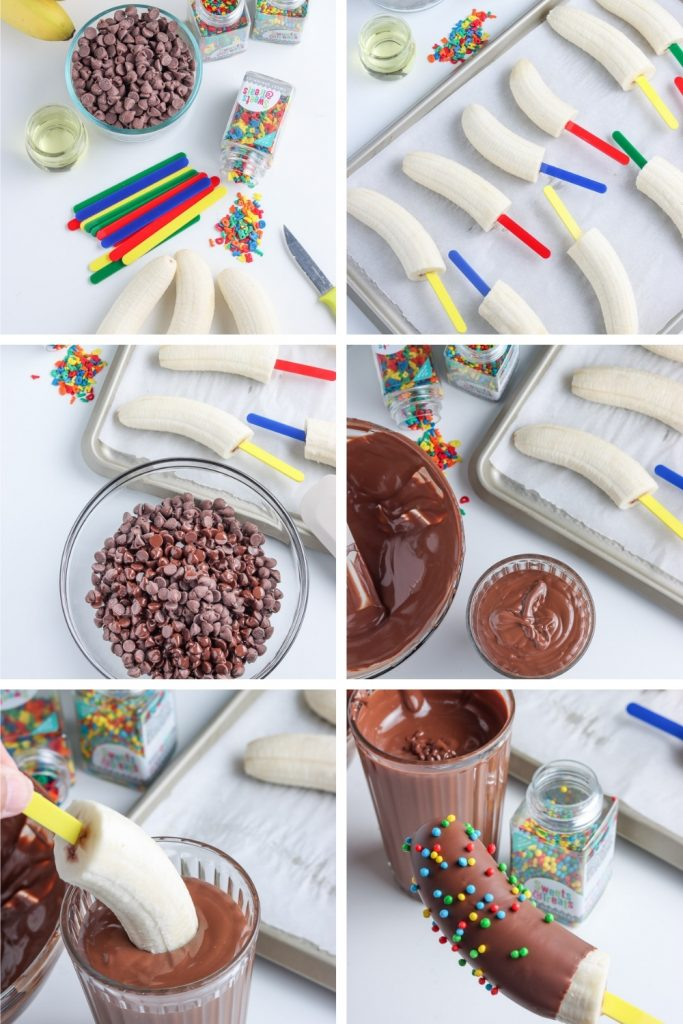 grid of how to make chocolate covered bananas