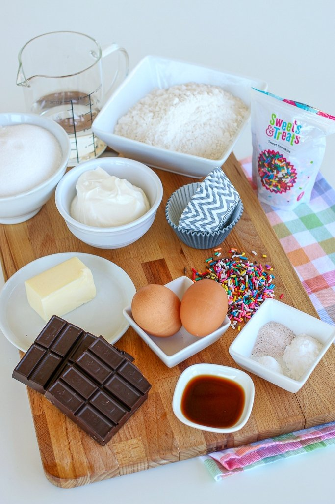 Ingredients to make a chocolate cupcake recipe