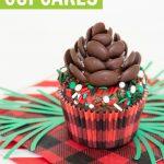 closeup of chocolate pine cone cupcakes with lumberjack sprinkles and buffalo plaid cupcake liners