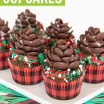 chocolate pinecone cupcakes with lumberjack sprinkles and buffalo plaid cupcake liners