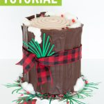 tree stump cake, log cake tutorial graphic with buffalo plaid ribbon and paper pine needles