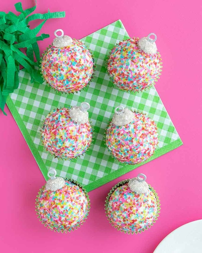 half dozen christmas ornament cupcakes for your upcoming christmas party
