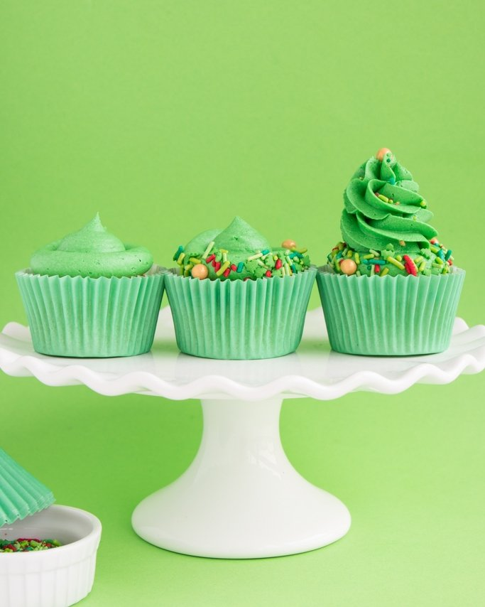 How To Make Christmas Tree Cupcakes Tutorial