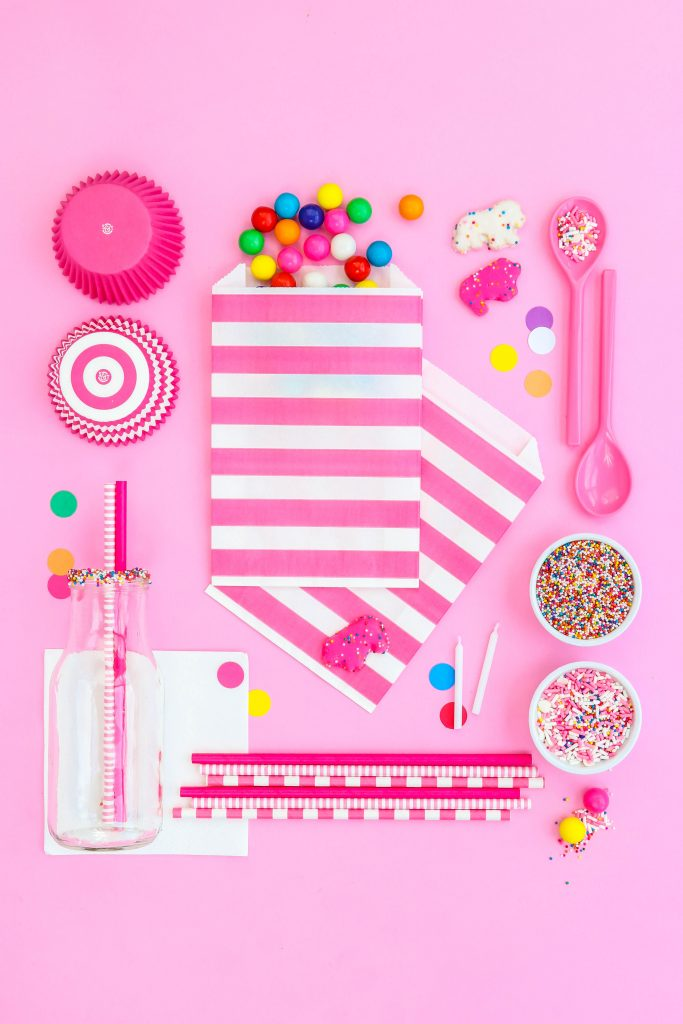 Animal Circus Cookie Party Ideas Style Board - party supplies all laid out in a grid