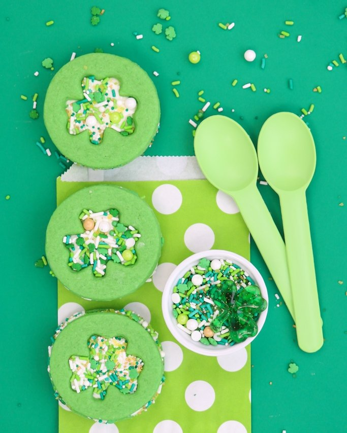 St. Patrick's Day Shamrock Sprinkle Cookie Sandwiches