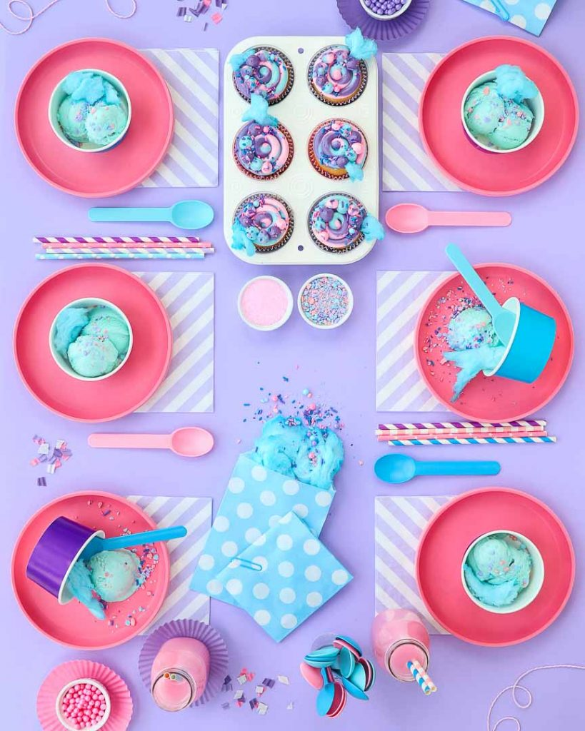 cotton candy party ideas table setup - 6 place settings