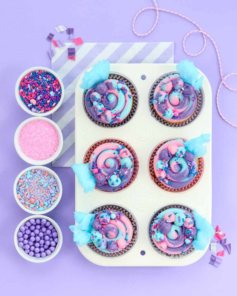 Cotton Candy Cupcakes - Party Ideas - Sweetscape Instaparty