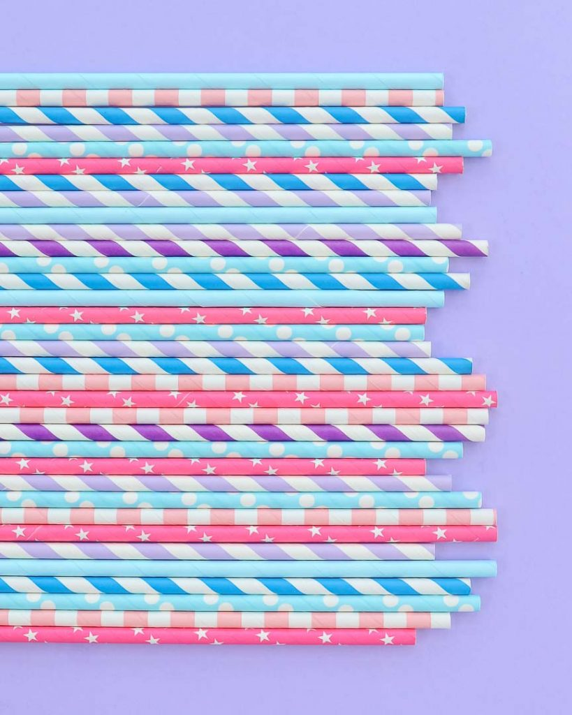 Cotton Candy party paper straws assortment