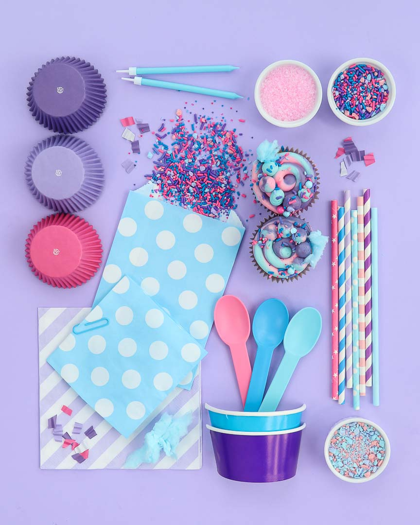 Cotton Candy Party ideas board with party supplies