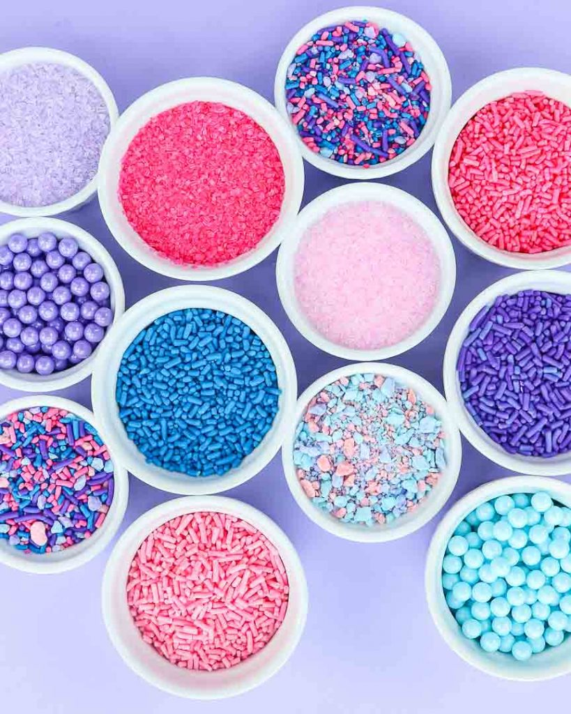 Cotton Candy Party Sprinkles in white bowls